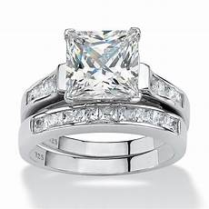 3 95 tcw princess cut cubic zirconia two piece bridal in platinum over sterling silver at