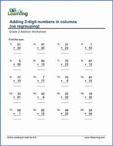 grade 2 math worksheet add 2 digit numbers in columns no