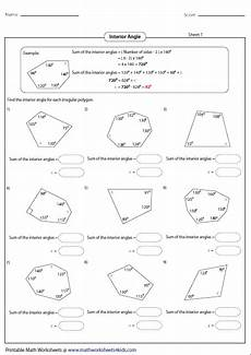 find the interior angle of each polygon angles worksheet geometry worksheets irregular polygons