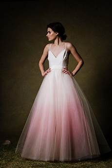 ombre dip dyed tulle ballgown wedding dress by cleoandclementine
