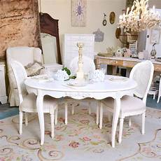 Shabby Cottage Chic Oval White Dining Table Vintage