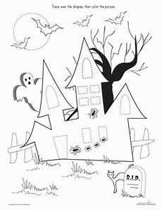 trace color the haunted house worksheet education com
