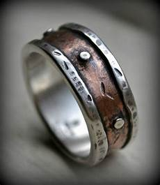 rustic mens wedding rings mens rustic wedding ring rustic fine silver and copper ring