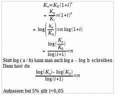 wie stelle ich die formel nach n um mathematik formel