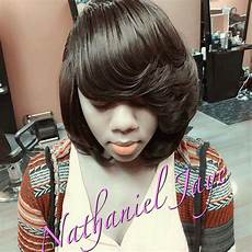 quick weave feathered long bangs bob hairstyle bob