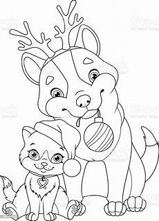 with cat coloring page stock illustration
