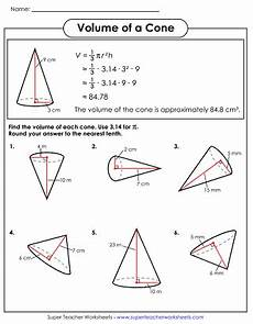 volume of cone worksheet volume of a cone worksheets