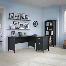 kathy ireland office connecticut black suede oak 60w l