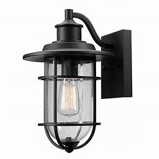 globe electric turner 1 light black and seeded glass outdoor wall sconce 44094 the home