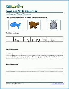 learning to write sentences worksheets read trace and write sentences worksheets k5 learning
