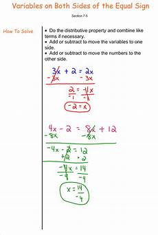 algebra worksheets variables on both sides 8615 solving equations with variables on both sides 7th grade pre algebra mr burnett