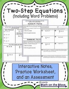 two step equations interactive notes worksheet and assessment assessment equation and words