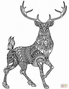 deer zentangle coloring page free printable coloring pages