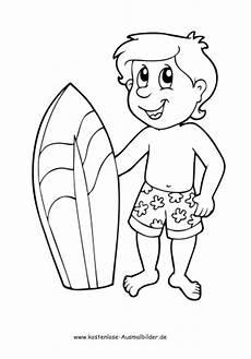 junge mit surfbrett sommer ausmalen malvorlagen