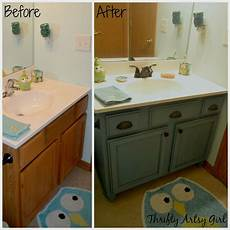 builders grade teal bathroom vanity upgrade for only 60