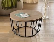 Runder Wohnzimmertisch Holz - beistelltisch modern look aus holz metall 216 50x29cm rund