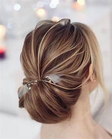 pretty low chignon hairstyle for long hair chignon wedding hair