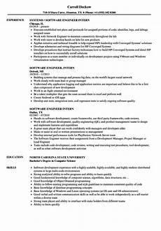 software engineer intern resume sles velvet
