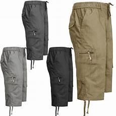 herren 3 4 gummizug cargo sommer combat 6 taschen shorts
