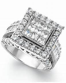 macy s diamond square engagement ring in 14k white gold 3 ct t w in metallic lyst