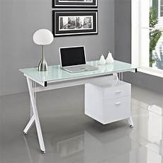 glass home office furniture computer desk pc table home office black white glass