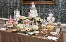gold and pastels dessert and sweet table buffets l