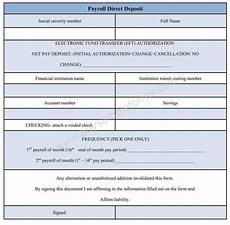 payroll direct deposit form direct deposit authorization template word