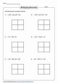 multiplication worksheets box method 4331 multiply binomials using box method printable math worksheets polynomials multiplying