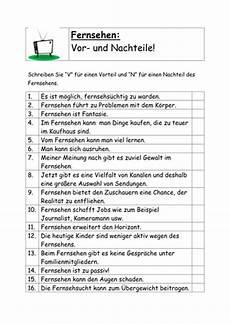Vor Und Nachteile Des Fernsehens By Knotty80 Teaching