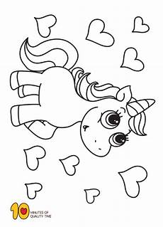 Malvorlagen Unicorn Yellow Unicorn And Hearts Coloring Page Coloring Pages