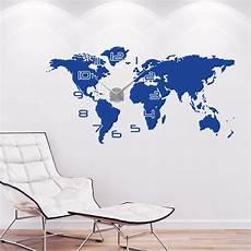 wandtattoo uhr weltkarte wanduhr mit allen kontinenten
