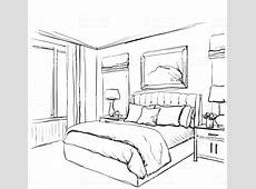 Bedroom Interior Sketch Hand Drawn Furniture Stock Vector