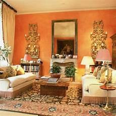 moderne orange farbgestaltung im wohnzimmer archzine net