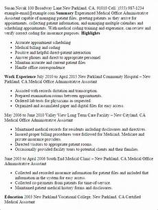 1 medical office administrative assistant resume templates try them now myperfectresume