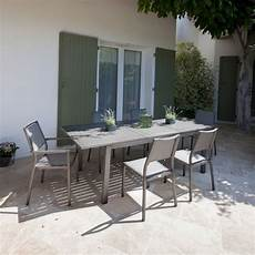 table aluminium jardin table de jardin trieste aluminium l180 240 l100 cm argent