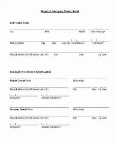 free 8 sle employee emergency contact forms in pdf ms word