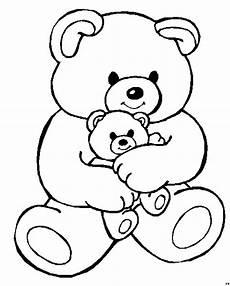 teddy mit kleinem teddy ausmalbild malvorlage kinder
