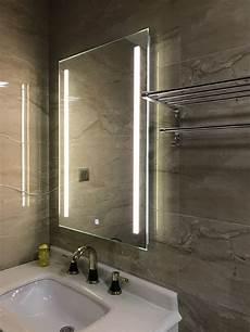waterproof wall led lighted bathroom mirror vanity defogger 2 vertical lights rectangular