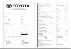 Certificate Of Conformity Coc Toyota Eurococ