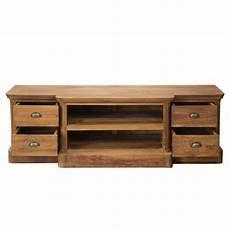 Tv Regal Holz - bovey modern teak wood open shelf 4 drawer tv stand