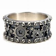 distressed silver gear ring steunk industrial cogs and