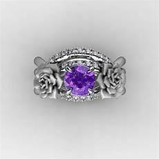 nature inspired 14k white gold 1 0 ct amethyst diamond rose vine engagement ring wedding band