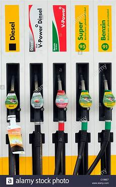 Petrol Nozzles Of Different Types Of Petrol And