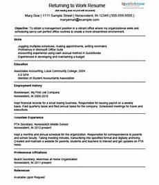 exle resume for a homemaker returning to work return