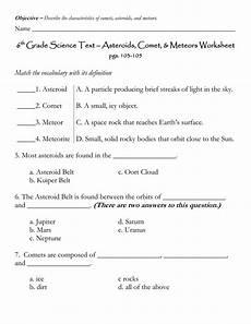 6 grade science text asteroids comet meteors worksheet 1 asteroid