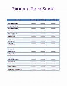 sle rate sheet free word templates