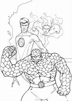 Gambar Hitam Putih Fantastic Four Untuk Diwarnai