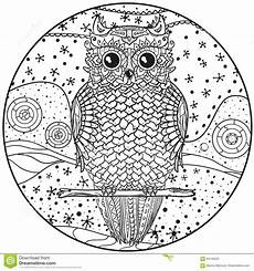 Ausmalbilder Muster Eule Mandala Mit Eule Vektor Abbildung Illustration Hallo