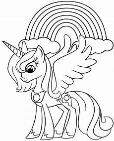 unicorn and rainbow on printable coloring sheet