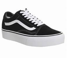vans skool platform black white sneaker damen